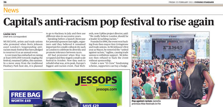 UpRise in the Evening Standard